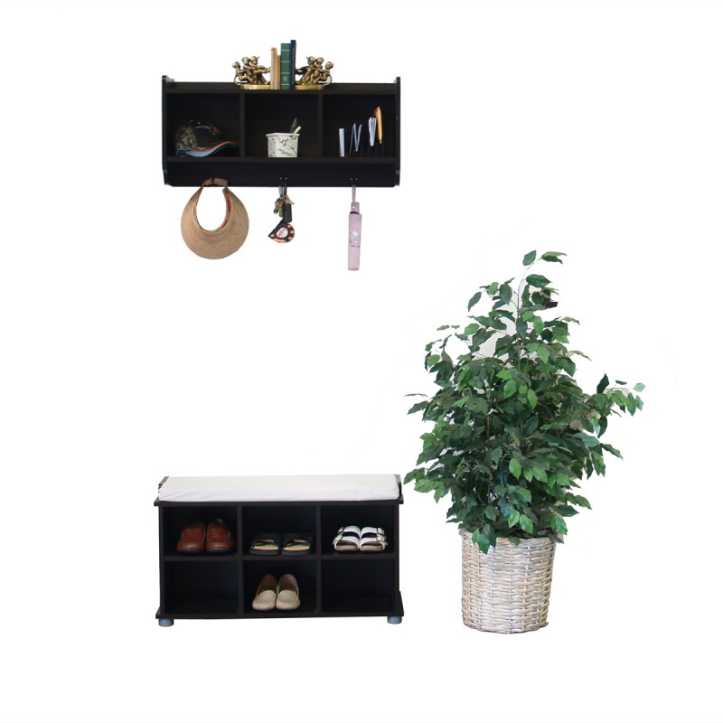 Kendal Shoe Bench and 3-cell hutch set